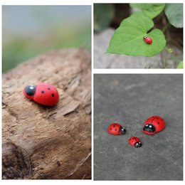 Wholesale DIY House Figurines Lady Beetle Cute Tiny Garden Bonsai Terrarium Home Decoration Tree Christmas Gift E364J