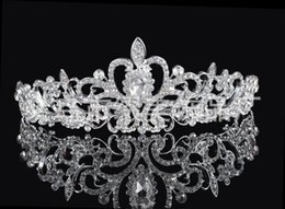 Wholesale High Quality Shining Beaded Crystals Wedding Crowns Bridal Veil Tiara Crown Headband Hair Accessories Party Wedding Tiara