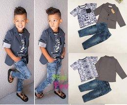 Wholesale Baby Cowboy Formal Party suits lepoard Tuxedo suit set lepoard cat t shirt denim pants tuxedo coat sz T T