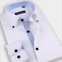 Wholesale- Hot Mens Casual Unique neckline Stylish Brand Shirts Pure Colour Fashion Long Sleeve shirts New High Quality Free shipping