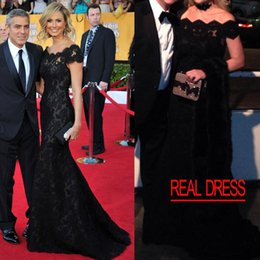 Black Lace Mermaid Evening Gowns Inspired by Stacy Keibler Mermaid Off the Shoulder Cap Sleeves Lace Sweep Train SAG Celebrity Dresses 2016