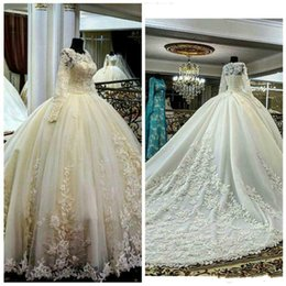 2016 Ball Gown Wedding Dresses with Long Sleeves Sheer Jewel Neckline Appliques Cathedral Vintage VWedding Bridal Gowns Real Pictures