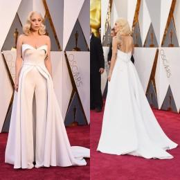 Wholesale Oscars Red Carpet Lady Gaga Celebrity Dresses Modern Evening Dresses Strapless Trousers Cheap Evening Gowns