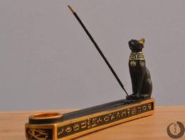 Wholesale Retro Ancient Egypt Bastet Style meditation incense stick holder with incense Burner Tower for home decor