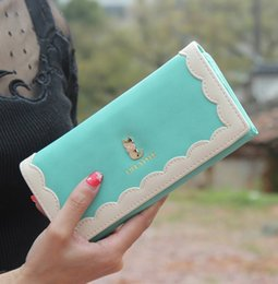 Wholesale-New Brand Famous Bag Woman 2015 New Candy Color Cute Cartoon Cat Long Woman Purse Leather Wallet Purse