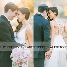 2019 Bohemian Wedding Dresses Long Chiffon V-Neck Floor Length Pleats Ruched Summer Beach Plus Size Bridal Gowns Sheath