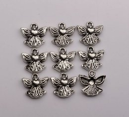Hot sell ! Antique Silver Single-sided design Love Angel Charm pendants DIY Jewelry 12.5 x 12mm (363)