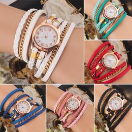New 2015 FAshion Hot Colorful Vintage women watches Weave Wrap Rivet Leather Bracelet wristwatches shenzhen watch factory