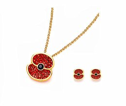 2015 Newest Fashion Gold Tone With Red Crystal Rhinestone Flower Poppy Jewelry Set Necklace and Earrings
