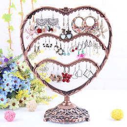 Wholesale Holes Antique brass Heart shape Jewelry Earring display Necklace showcase Jewelry Display Rack stand holder