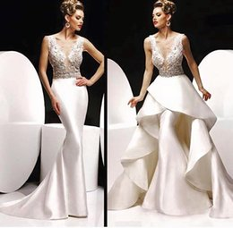 Wholesale Design Fashion Bead Sequins Sheer Illusion Neck Mermaid Gorgeous Evening Dresses With Detachable Train Sexy Party Prom Dress Wedding Gown