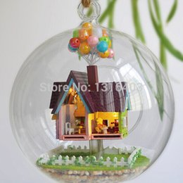 Wholesale B006 Creativity Flying Miniture Wooden DIY House Dollhouse Handmade Wood Dollhouse In Glassball Model Building Kit