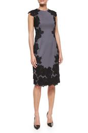 Embroidery Women Sheath Dress Round Neck Sleeveless Dresses 1219092
