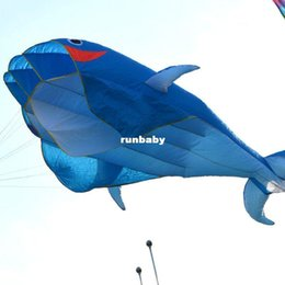 Wholesale New D Huge Frameless Soft Parafoil Giant Dolphin Kite Blue With line