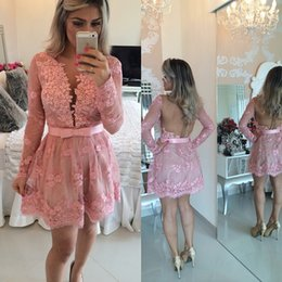 Deep V NecK Sexy Short Graduation Dresses 2015 Sheer Long Sleeve Lace Appliqued New Bow Sash Homecoming Gown