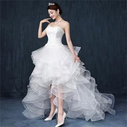 Wholesale 2016 White High Low Sexy Fashion Lace Bra Small Tail Wedding Dresses Bridal Gowns Cake Tutu Dresses Plus Size Wedding Gowns B