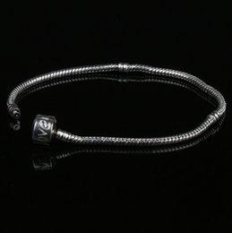 Wholesale 27Styles New Silver Vogue SP Pandora Snake Chain Bracelets with Pandora Love Smooth Clips Fit Beads Jewelry DIY cm cm cm cm cm