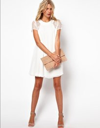 Hot Sale Women's Casual Chiffon Dress Short Sleeve Lace Stitching One-piece Dresses White Black Red Blue