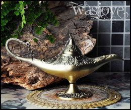 Wholesale Ancient Egypt Style Classic Collectable Large Rare Legend Aladdin Magic Genie Light Lamp creative pot Classic Copper
