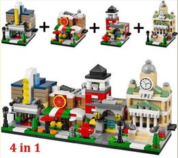Wholesale 4 sets Toys R Us Bricktober Mini Modular Set Movie Theater Pizza Place Fire Station Town Hall block toys Decool Best Gift