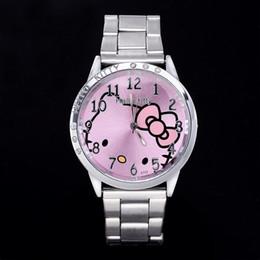 HelloKitty Clock Women Dress Watch Hello Kitty Cartoon Watches Steel Watch Women Rhinestone Watches kids Women Full Steel Watch