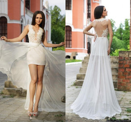 2016 New Short Beach Wedding Dresses Sexy Back Lace Sheer Jewel Neck Over Skirt Illusion Bodice Custom Made White Cheap Bridal Gowns