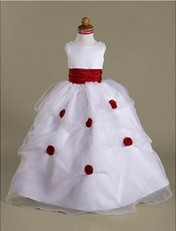 Ball Gown Scoop Floor-length Organza Over Satin Pick Up Skirt Flower Girl Dress For Wedding Party
