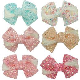 Boucles d'oreilles de cheveux de strass de boutique avec des pinces pour des filles Accessoires de cheveux d'enfants 12 pièces / lot 4