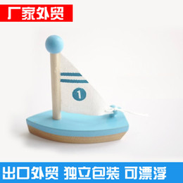 Mini Wooden Sailing Boat Tomtit Children Baby Bath Water Toy educatonal toys, with PVC Box