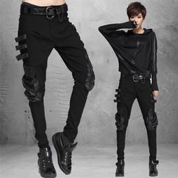 Wholesale-Autumn fashion High elastic women jeans solid color Loose Hip-Hop Casual Harem pants PU pocket decoration cotton black trousers