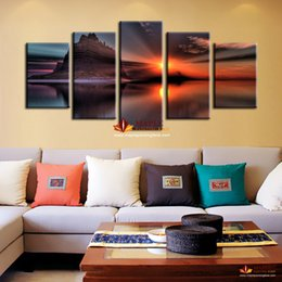Free shipping 5 pieces home decoration wall art painting of Seascape artwork for living room Modern home wall decor painting canvas art