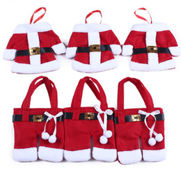 Wholesale Cheap Handmade Clothing - Cheap Handmade Mini Clothes Christmas Pants Shaped Christmas Santa Claus Cutlery Suit Silverware Holder Knives Forks Pockets Gift Free DHL