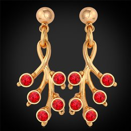 Romantic Red Stud Drop Earrings 18K Real Gold Plated Austrian Rhinestone Ruby Jewelry Gift For Women MGC E2203