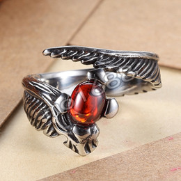316L 361L Stainless Steel Men Women Gothic Feather Wings Biker Red Gem Ruby Stone Ring Size 7-13