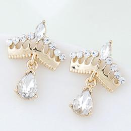 2015 Fashion Korean Gold Crystal Stud Earrings Bijoux Women Earrings Crown boucle d'oreille Fashion Jewelry Women Accessories