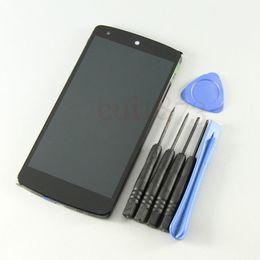 Promotion écran tactile google Gros-bon écran tactile de qualité Digitizer verre + ensemble d'affichage lcd avec cadre pour LG Google Nexus 5 D820 + Outils + code de suivi