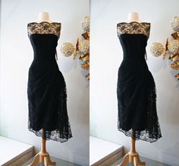 Elegant Black Lace Bridesmaid Dresses Short Tea Length Summer Garden Beach Wedding Party Dresses Pick Up Sheer Cheap Women Gowns