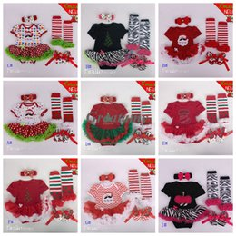 Wholesale New style baby outfits on X mas New year one piece tutu dress bow headband legging socks shoes set infant toddler child clothing