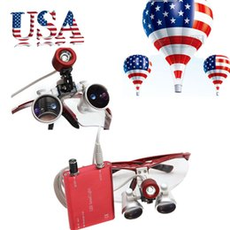 Wholesale Surgical Head Lamp Loupes - From USA!!RED Dental Surgical Binocular Loupes 3.5X Optical Glass 420mm+LED Head Lamp light