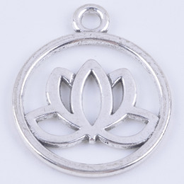 100pcs lot antique silver metal alloy precious lotus flower fashion jewelry collet fit necklace bracelet keychain bag decoration DIY 5354