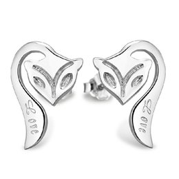 925 sterling silver items jewelry fox shape stud earrings vintage exquisite charms new arrival free shipping
