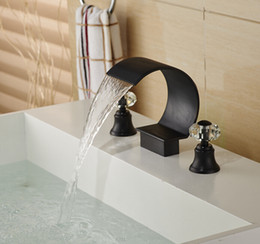 Deck Mount C Curved Basin Sink Faucet Dual Crystal Handles Oil Rubbed Bronze Tap