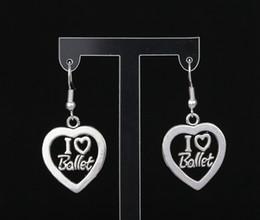 I Love Ballet Heart Charms Drop Dangle Earrings 925 Silver Fish Ear Hook 50pairs Tibetan Silver Chandelier Earrings Jewelry Gift HOT S271