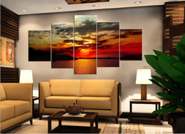 Wholesale 5 Piece Hot Sell Modern Wall Painting Art Picture Home Decorative Paint on Canvas Prints Calm river Bright rays Orange red sun