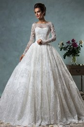 long sleeve lace wedding dresses 2016 ball gown puffy wedding gowns bateau neckline bridal gowns