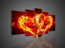 handpainted 5 piece red modern abstract love model pictures oil paintings on canvas wall art for living room decoration F 059