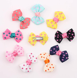 9 Color children lovely dot bowknot hairpin 2015 new fashion princess girl Candy color hairpin children Hair Accessories B