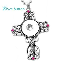 Wholesale P00679 Hot Newest design free Stainless Steel Chain Newest Christian Cross noosa chunks Pendant Necklaces Fit Rivca Snaps Jewelrys