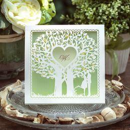 Invitación de boda de la verde menta del amor de invitaciones de la boda del árbol de la alta calidad de la boda del cordón hueco Proveedor barato En Stock 2016 Navidad desde tarjetas de navidad baratos proveedores