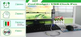 Wholesale 2015 hot sale MINI cute Cool Office Gadget Desk Flexible Gooseneck USB LED Clock air Fan EGS_704